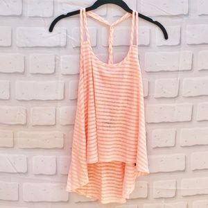 Forever 21 Neon Orange & White Striped Tank Top